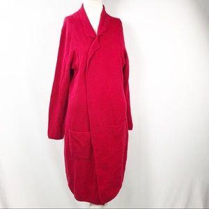 Chico's Long Red Open Front Cardigan Sweater